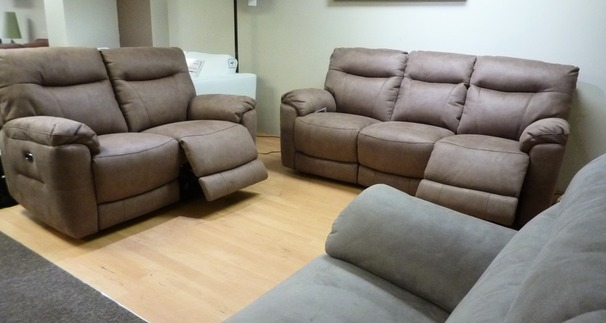 Biscay mid beige fabric electric recliner 3 seater and 2 seater £1999