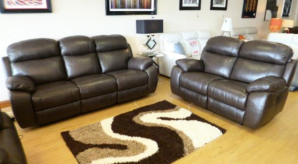 Barcelona electric recliner 3 seater and 2 seater £2499 mid brown