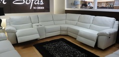 Marino electric recliner corner white with drinks holder £2999 - Click for more details