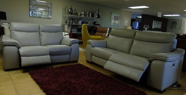 Marseille electric recliner 3 seater and 2 seater stone grey £2999