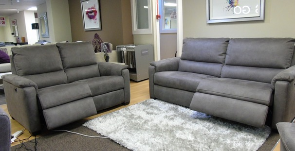 Geneva electric recliner 3 seater and 2 seater grey fabric £1899