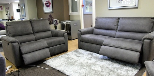Geneva electric recliner 3 seater and 2 seater grey fabric £1699 ( SWANSEA SUPERSTORE)