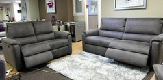 Geneva electric recliner 3 seater and 2 seater grey fabric £1699 ( SWANSEA SUPERSTORE) - Click for more details