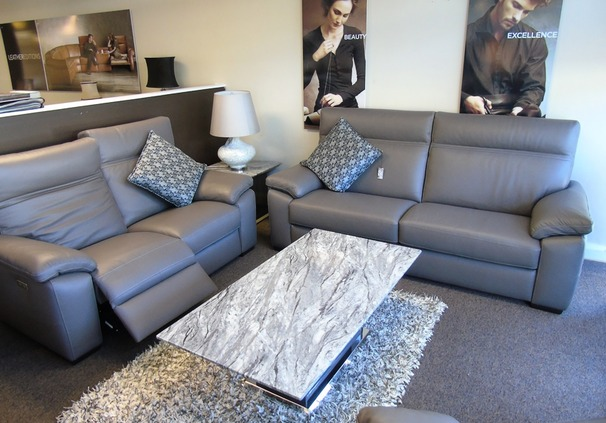 Lapo 3 seater and double electric  recliner 2 seater sofa mid grey £3799 ( SWANSEA SUPERSTORE)