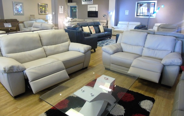 Marino electric recliner 3 seater and 2 seater stone 2699