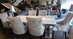 Cream dining set and six velvet chairs £1999 (SUPERSTORE) - Click for more details