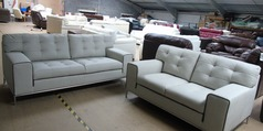 Cologne 3 seater and 2 seater stone -taupe piping £999 (CLEARANCE OUTLET) - Click for more details