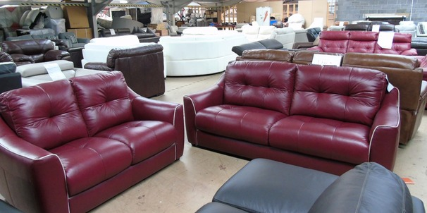 Estelle 3 seater and 2 seater -red with taupe piping £799 (CLEARANCE OUTLET)