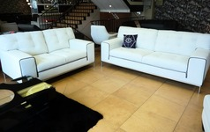 Cologne 3 seater and 2 seater white- dark piping £999 (SUPERSTORE) - Click for more details