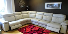Marseille extra large double electric recliner corner suite -stone £3275 - Click for more details