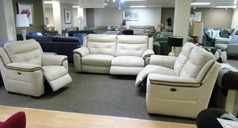 Miami elctric recliner 3 seater, 2 seater and chair  beige fabric £2298 (SUPERSTORE) - Click for more details