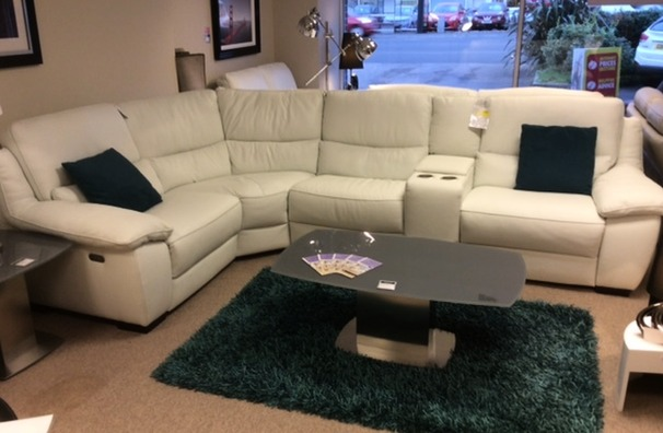 Marino double electric recliner in white hide £2199 (CARDIFF)