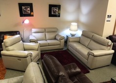 Sacramento 3 seater, 2 seater and electric recliner chair cream -dark piping £3199 (SWANSEA) - Click for more details