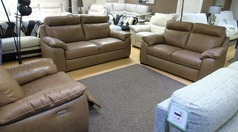 Latina 3 seater, 2 seater and electric recliner chair sand hide £2598 (SUPERSTORE) - Click for more details