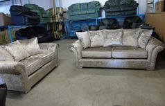 Kentucky 3 seater and 2 seater crushed velvet £499 (CLEARANCE OUTLET) - Click for more details