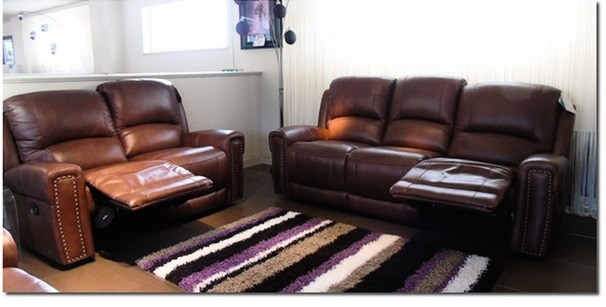 Marlowe recliner 3 seater and 2 seater dark tan £1899 (SWANSEA)