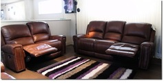 Marlowe recliner 3 seater and 2 seater dark tan £1899 (SWANSEA) - Click for more details