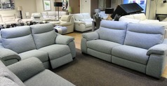 Marseille electric recliner 3 Seater + 2 Seater £1599 grey fabric  (SUPERSTORE) - Click for more details