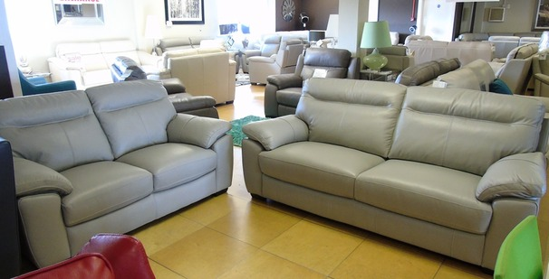Trento 3 seater and 2 seater grey leather £1499 (SUPERSTORE)
