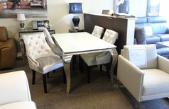 Cream dining set and 4  velvet chairs £799 (SUPERSTORE) - Click for more details