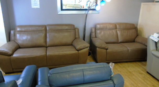 Torino 3 seater and 2 seater £2499 Taupe hide (SWANSEA)