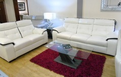Lyon 3 seater and 2 seater -white/ purple  stripe £1599 (SWANSEA) - Click for more details