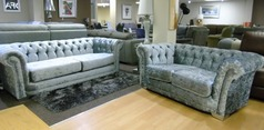 Chesterfield 3 seater and 2 seater grey crushed velvet £999 (SUPERSTORE) - Click for more details