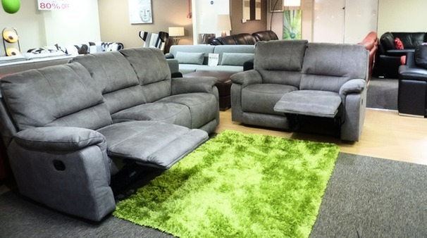 Melanie recliner 3 seater and 2 seater grey fabric £1299 (SUPERSTORE)