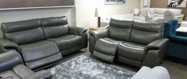 Santos electric recliner 3 seater and 2 seater dark grey £1999 SUPERSTORE