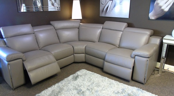 Italian leather double electric recliner corner suite mid grey £3999 (SUPERSTORE)