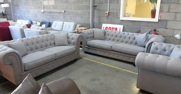 Chesterfield  3 seater, 2 seater and chair-  grey £988 (SUPERSTORE)
