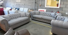 Chesterfield  3 seater, 2 seater and chair-  grey £988 (SUPERSTORE) - Click for more details