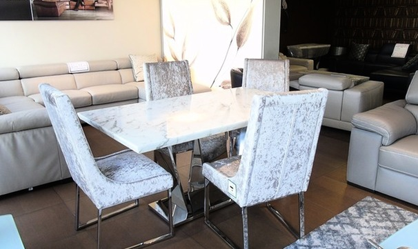 Cream marble dining set and 4 chairs £999 (SUPERSTORE)