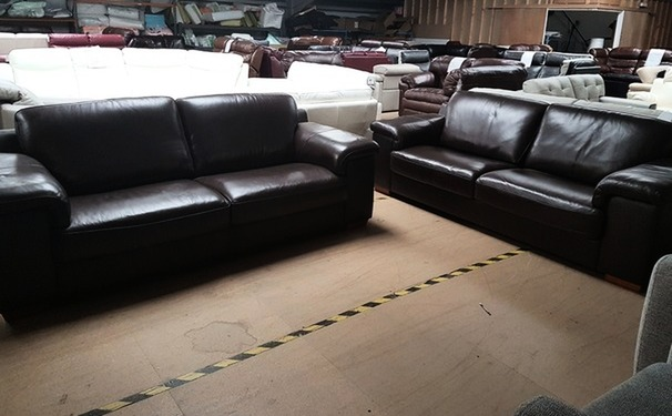 Madrid 3 seater and 3 seater dark brown £799 (SUPERSTORE)