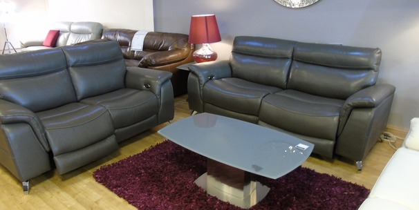 Santos electric recliner 3 seater and 2 seater dark grey £1999 (SWANSEA)