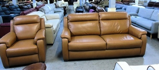 Mendip 3 seater and 1 chair pecan hide £999 (SUPERSTORE)
