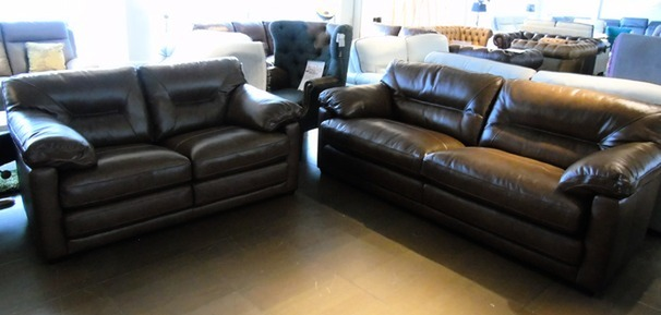 FRESNO 3 seater and 2 seater rust hide £1999 (SUPERSTORE)