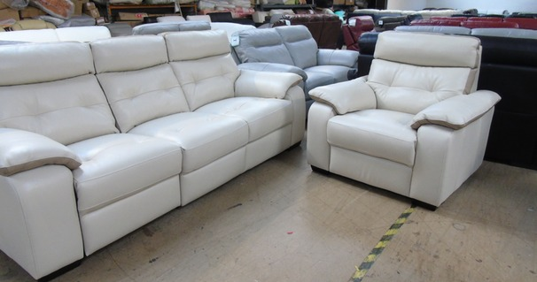 Lyon electric recliner 3 seater and 1 chair  beige hide £1999 (SUPERSTORE)