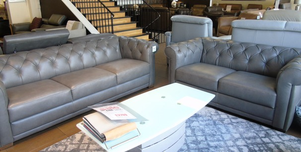 SALVO Chesterfield 3 seater and 2 seater grey £2399 (SUPERSTORE)