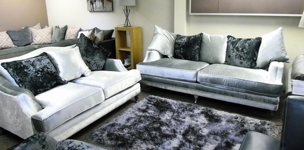 Knightsbridge 3 seater and 2 seater in silver crushed velvet £999 (SUPERSTORE)