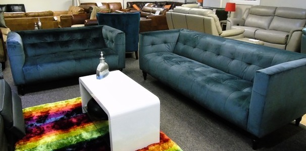 Chelsea 3 seater and 2 seater blue velvet £899 (SUPERSTORE)