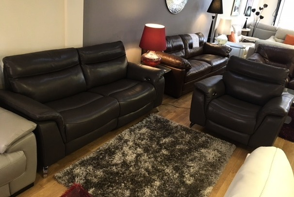 Santos electric recliner 3 seater and  2 electric recliner chairs  dark grey £1999 (SWANSEA)
