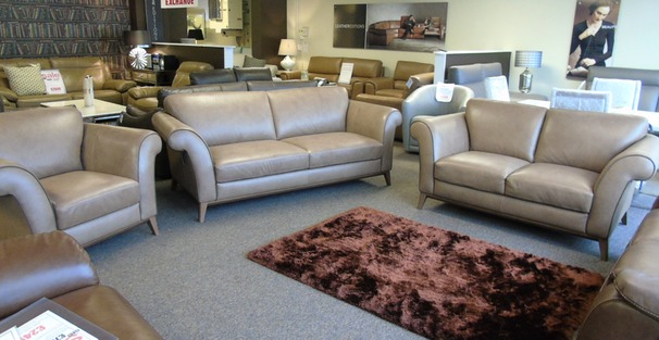 Lucca 3 seater, 2 seater and 1 chair taupe hide £2999 (SUPERSTORE)