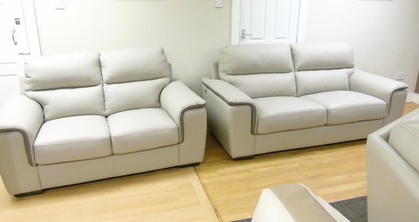 Italian cream leather 3 seater and 2 seater £1999 (SUPERSTORE)