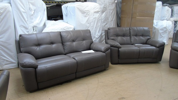 Modena electric recliner 3 seater and 2 seater grey £1999 (SUPERSTORE)