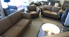 Lucca 3 seater, 2 seater and 1 chair taupe hide £2999 (CARDIFF) - Click for more details