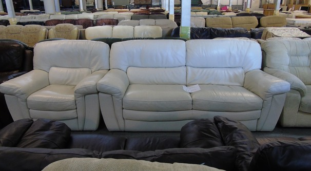 White leather 3 seater and 1 chair £149