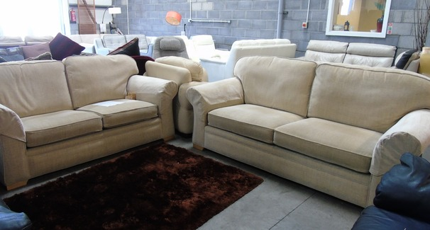 Beige fabric 3 seater and 2 seater £299