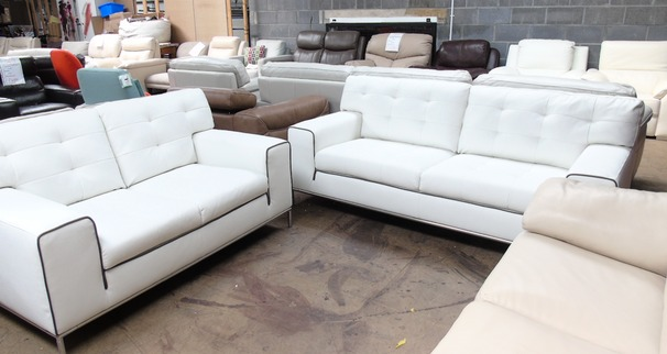 Cologne 3 seater and 2 seater white with dark piping £899 (SUPERSTORE)
