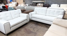 Cologne 3 seater and 2 seater white with dark piping £899 (SUPERSTORE) - Click for more details